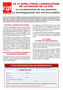 Le 19 Avril Pour L Annulation De La Hausse De La Csg Union