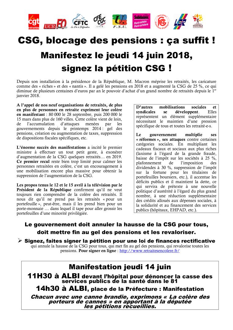 Retraites Mobilisation Le Jeudi 14 Juin Union Departementale